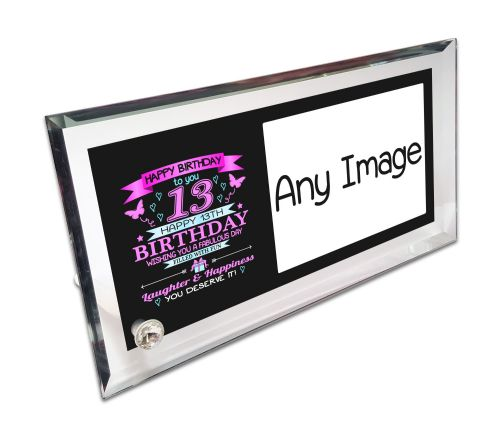 Personalised Happy Birthday To You 13-100 Birthday Crystal Photo Frame - Pink